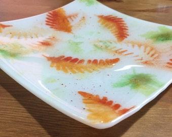 Fused Glass Platter -Autumn Leaves