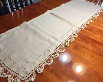 Vintage Ivory Linen dresser scarf or table runner with crochet border for housewares, home decor by MarlenesAttic