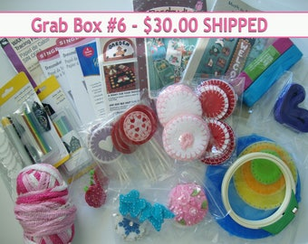 DESTASH,Grab Box,Sewing Supplies,Felt pennys,craft patterns,chalk,yo yo maker,chalk,sewing crafts, quilting supplies,elastic, felt appliques