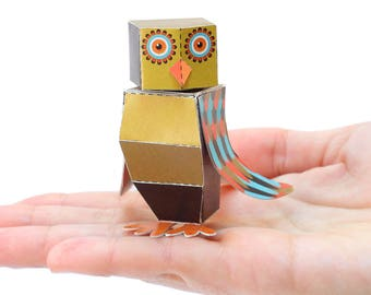 OWL Paper Craft Postcard - 3D Model Paper Figure