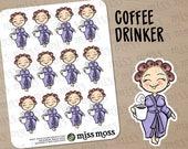 Light Skin Coffee Drinker Robe Planner Stickers, Caucasian Asian White - Erin Condren, Happy Planner, Kikki K, Filofax, Decorative