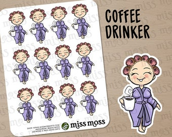 Light Skin Coffee Drinker Robe Planner Stickers, Caucasian Asian White - Erin Condren, Happy Planner, Kikki K, Filofax, Decorative