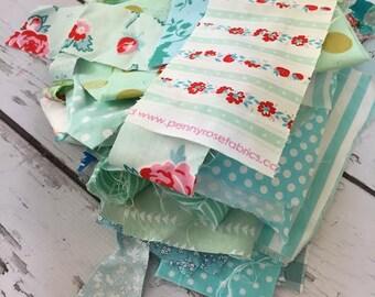 Destash, fabric scraps, blues, greens 5 oz
