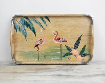 Vintage Flamingo Party Tray, Hand painted on bleach wood w/ handles, raised edge and chrome corners, made in Japan