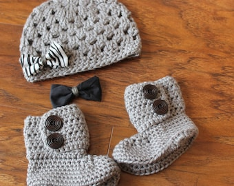 Baby Girl Clothes, Baby Girl Hat and Booties, Crochet Baby Booties