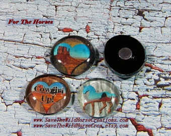 "Love Horses?  Then you'll love these Refrigerator Magnets. Set of 4, 12, or 15. ""FOR THE HORSES.""  Extra Strong, Glass Dome, Western Decor."