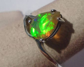 Ethiopian Opal Sterling Silver Ring Size 7