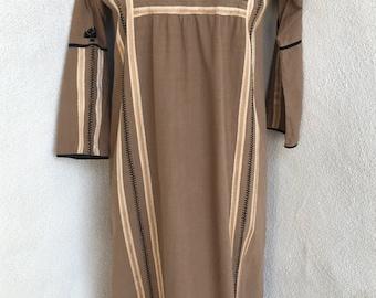 Vintage Boho Josefa maxi dress kaftan browns detail trim cotton sz S 6