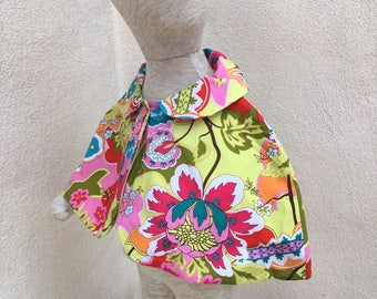 Vintage baby girl cape poncho reversable cotton print one size