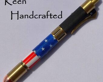 bi - Keen Handcrafted Handmade Stars & Stripes Revolver Antique Brass Click Pen