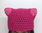 CUSTOM -- Nasty Woman Hat + KIDS option - pussycat hat - pussyhat - womens movement cap - pink kitty beanie