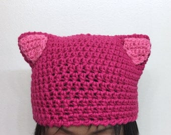 CUSTOM -- Nasty Woman Hat + KIDS option - pussycat hat - pussyhat - womens movement cap - pink kitty beanie