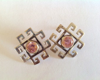 Sterling Silver Geometric Post Earrings with Pink Stone, .925 Silver