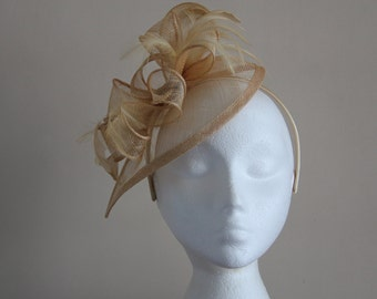 Champagne Gold Fascinator and Feather Fascinator on a hairband, races, weddings, Kentucky Derby, Ascot, Mother of Bride