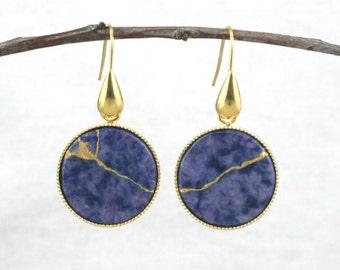 Kintsugi (kintsukuroi) round sodalite stone dangle earrings with gold repair in a gold plated setting - OOAK