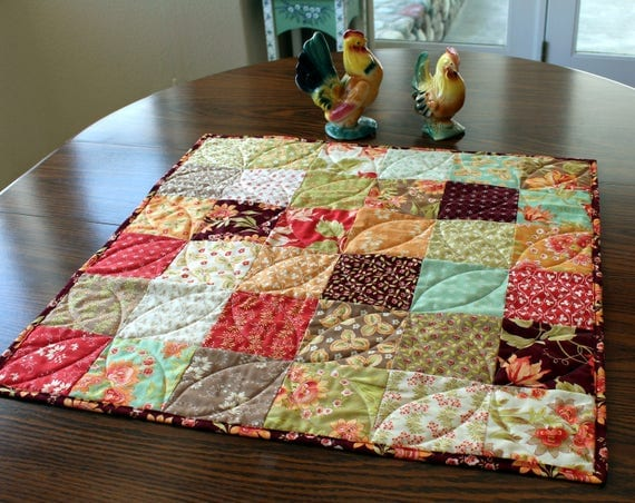 Patchwork quilt table runner homemade centerpiece