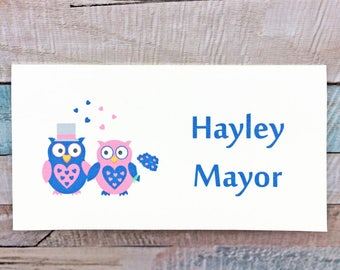 Owl place name cards for a wedding - pack of 10 in any colour scheme - wedding reception place names, wedding table place settings