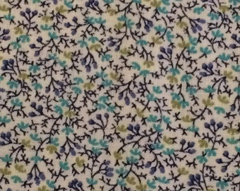 Cotton Fabric / Floral Cotton Fabric  / Vintage Cotton Fabric /  Blue Floral Fabric / Calico Fabric / Quilting Fabric / By The Yard