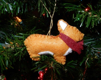 Corgi felt Christmas ornament