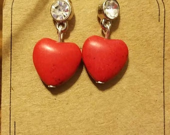 Red Natural Stone Heart Earring with Rhinestone 1 Pair Silver Finish Fishhook Style