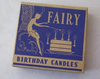 Fairy Birthday Candles Vintage Original Purple Box Blue Candles Emery Industries Magic Fairy Birthday Cake Decor Valentine's Mother's Day