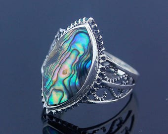 Abalone Silver Ring Size 8 Sterling Silver 925 Jewelry