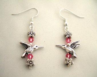 Sweet Silver Hummingbird Earrings Pink Earrings Swarovski Crystals Flower Earrings Cool Earrings Gifts for Her Christmas Gifts for Bestie