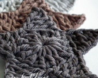 Crochet Star Applique - Set of 6
