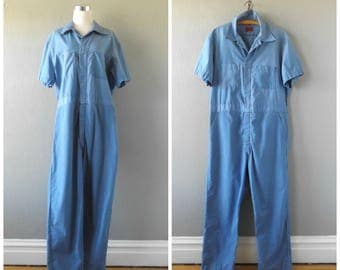 blue work coveralls | vintage 80s pants jumpsuit mens size m/medium 42-44 utility overalls hippie boho flight suit dress tops 1980s outfit