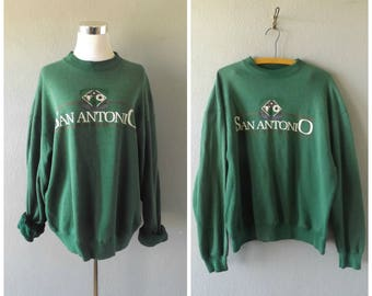 san antonio grunge sweatshirt | vintage 90s worn in pullover jumper size xl/extra large green athletic baggy top 1990s hipster texas shirt