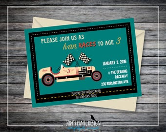 Fun Racing Themed Children's Birthday Printable Invitation - Vintage Race Car and Flags Boy's Birthday Invitation - 5x7 Kids Invitation