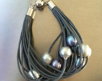 Gray Italian Leather Bracelet with Fresh Water Pearls