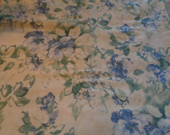 Lovely Upholstery Fabric Floral Flowers Blues Greens