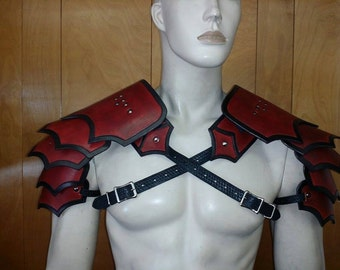 Leather Armor Gothic segmented shoulders IN STOCK