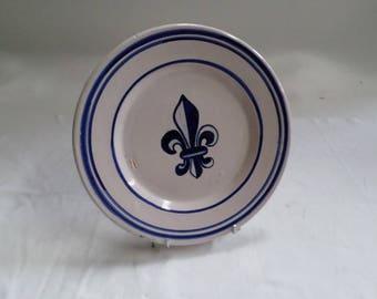 Antique French HR Quimper Handpainted Royal Fleur de Lys Plate 1800s (v854)