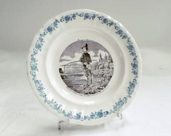 French Antique Longwy Black Transferware Plate fishes and Fishermen 10 c1880 (v837)
