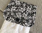 Hanging Kitchen Towel- Black White Flower Floral Print White Terry Cloth Towel Button Closure