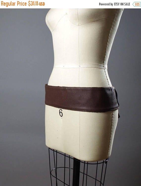 SUMMER SALE Vegan Leather Obi Belt - Brown Vegan Leather Obi Belt - Women's Wrap Belt - Up-cycled Obi Belt - Boho Brown Belt