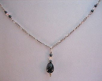 Sterling Silver and wire wrapped beaded pendant necklace