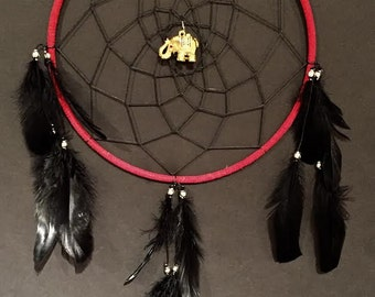 Large Red and Black Dreamcatcher with Gold Elephant, Elephant home decor, Elephant Dreamcatcher, Red Dream Catcher, Black Dream Catcher