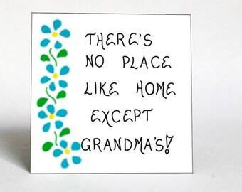 Refrigerator Magnet for Grandma, Grandmother quote, blue cascading flowers