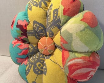 Flower Pin Cushion in Yellow and Purple