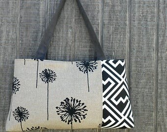 Black and Grey Floral Handbag Purse Tote