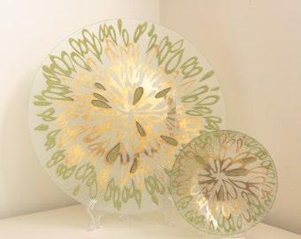 Dorothy Thorpe Gilt & Enamel Crystal Set—Bowl and Tray in Raindrops Pattern, very rare