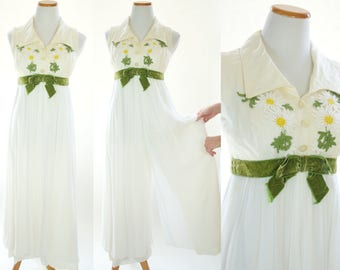 Vintage Jumpsuit, Jumpsuit, Wide leg jumpsuit, White Jumpsuit, Daisy Jumpsuit, 60s Jumpsuit, 1960s jumpsuit, Vintage White Jumpsuit, Wedding
