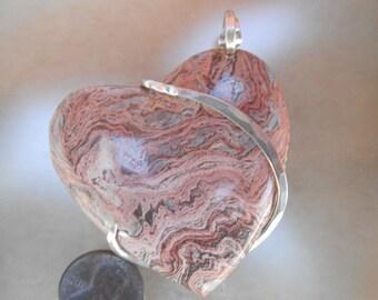 Swirl Rhyolite Heart Silver Wrapped Pendant