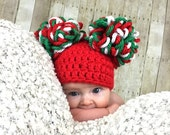 Christmas Hat, Pom Pom Hats, Red, Green, White, Baby Hats, Christmas Photo Prop, Available in every size