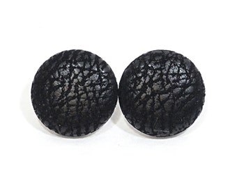 Black Leather Earrings - Black Faux Leather Covered Button Earrings - 4 sizes .