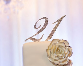 21 Silver/Gold Rhinestone NUMBER CAKE TOPPER 1 15 16 18 21 30 40 50 60 70 for Birthday, Anniversary, Quinceanera, Sweet Sixteen