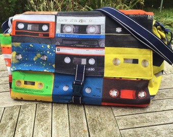 Messenger bag, cassette tape messenger bag, 1980's cassette tapes, gym bag, overnight bag, father's day gift, cross body messenger
